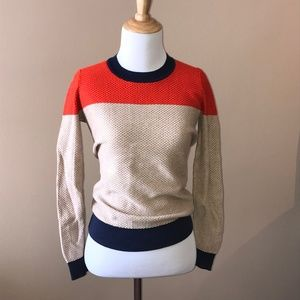 Madewell Navy, Red, & Tan Color Block Pullover
